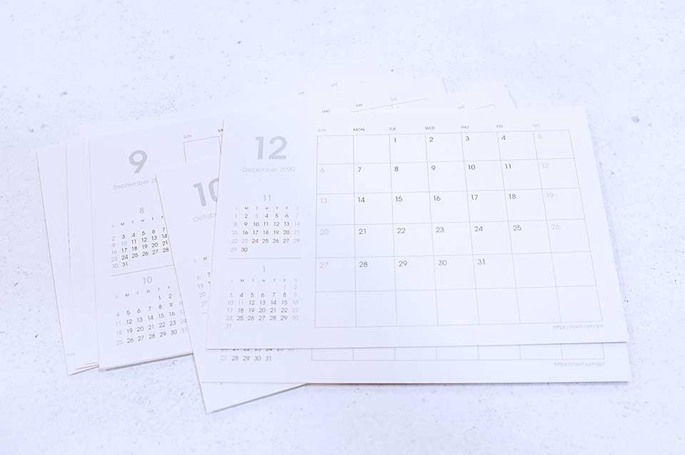 裏面は記入ができるカレンダー